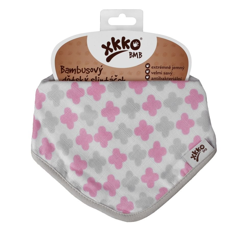Bambusový slintáček XKKO BMB - Scandinavian Baby Pink Cross