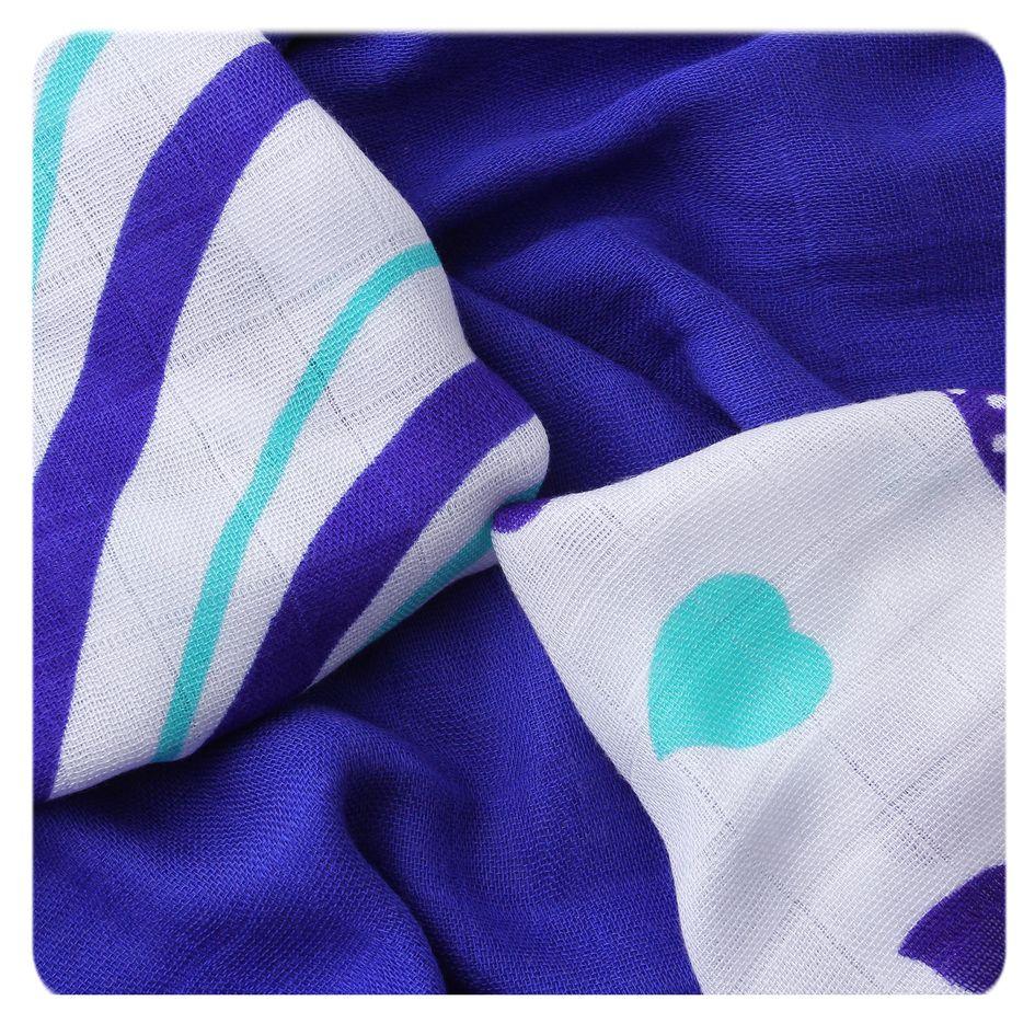 Bambusové ubrousky XKKO BMB 30x30 - Hearts&Waves Ocean Blue MIX