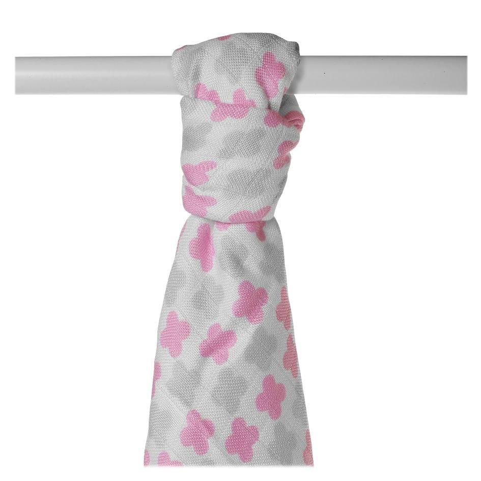 Bambusová osuška XKKO BMB 90x100 - Scandinavian Baby Pink Cross