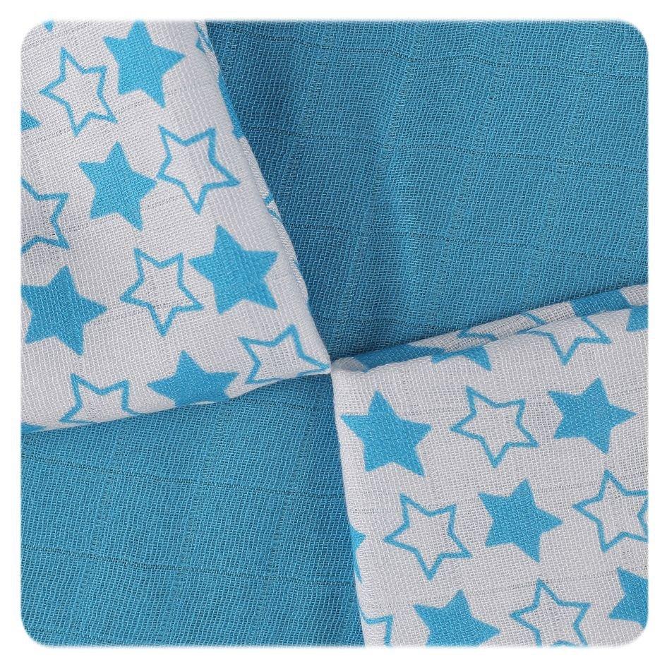 Bambusové ubrousky XKKO BMB 30x30 - Little Stars Cyan MIX