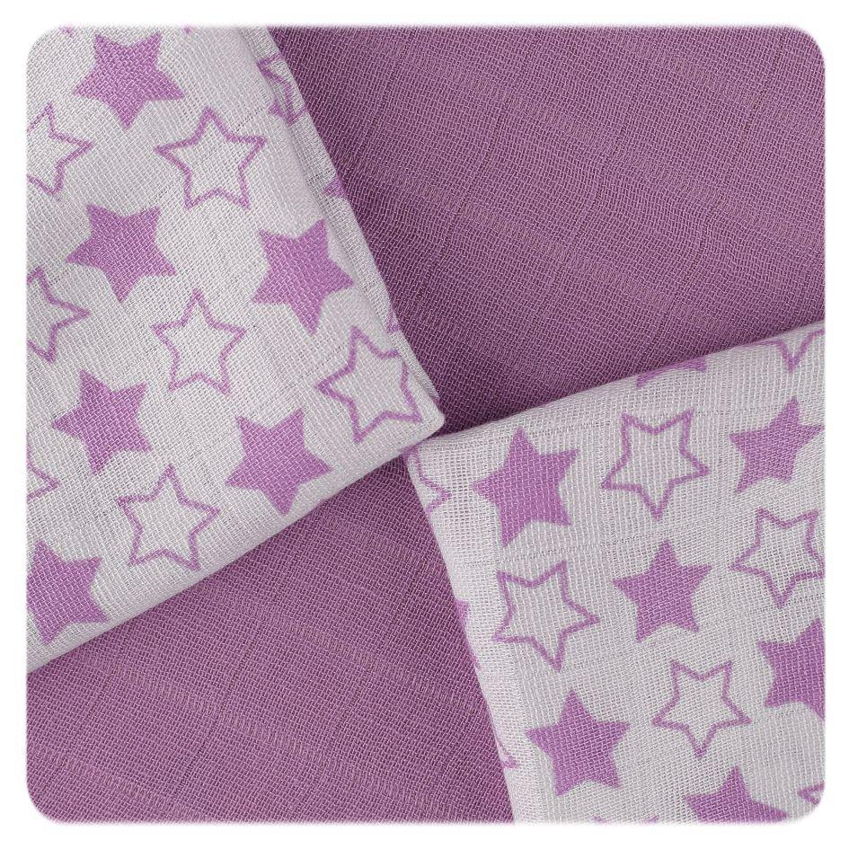 Bambusové ubrousky XKKO BMB 30x30 - Little Stars Lilac MIX
