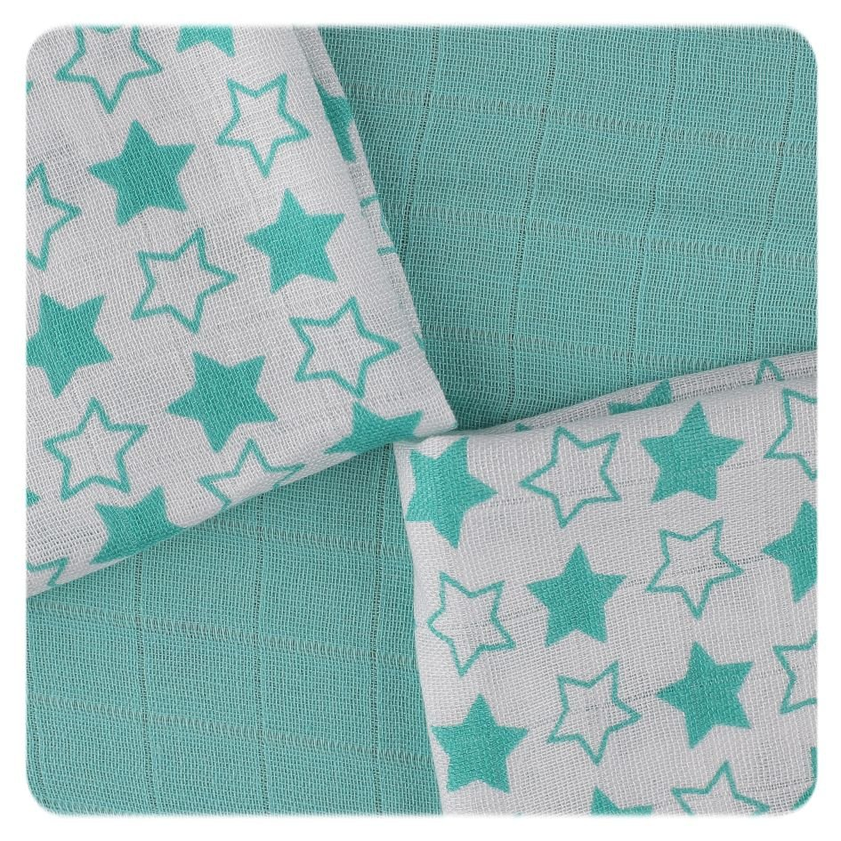 Bambusové ubrousky XKKO BMB 30x30 - Little Stars Turquoise MIX