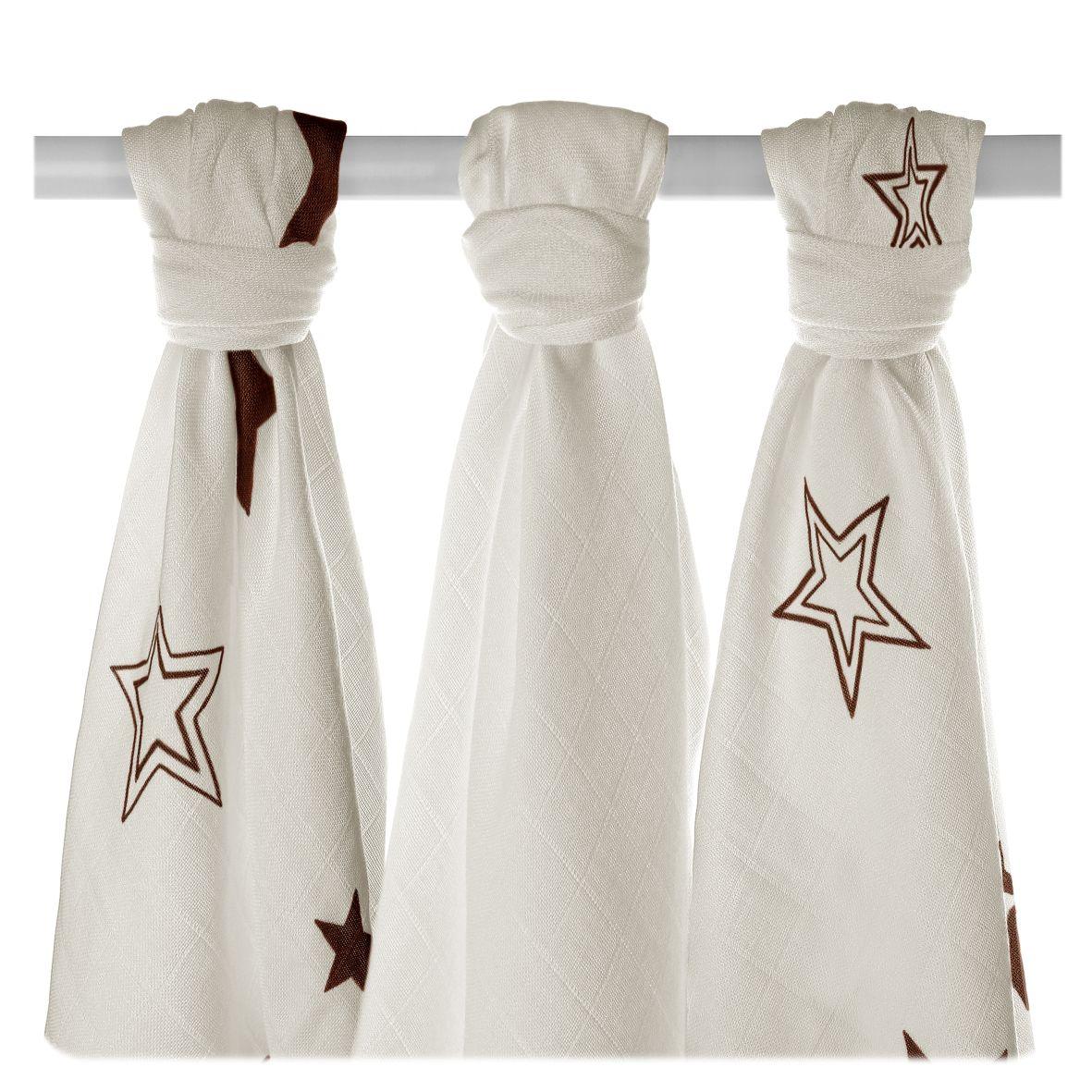 Bambusové pleny XKKO BMB Natural Brown Stars MIX 70x70cm - 3ks