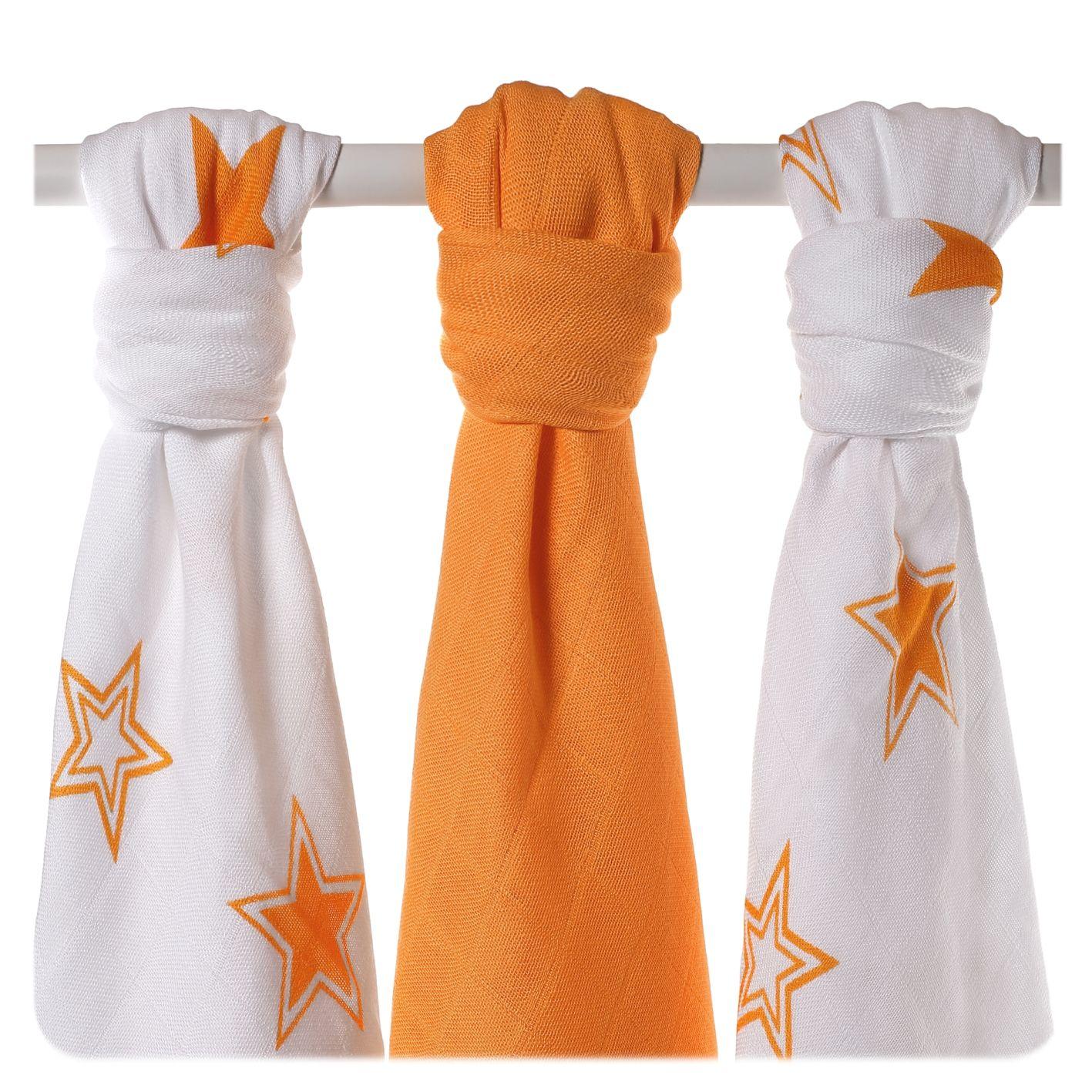 Bambusové pleny XKKO BMB Orange Stars MIX 70x70cm - 3ks