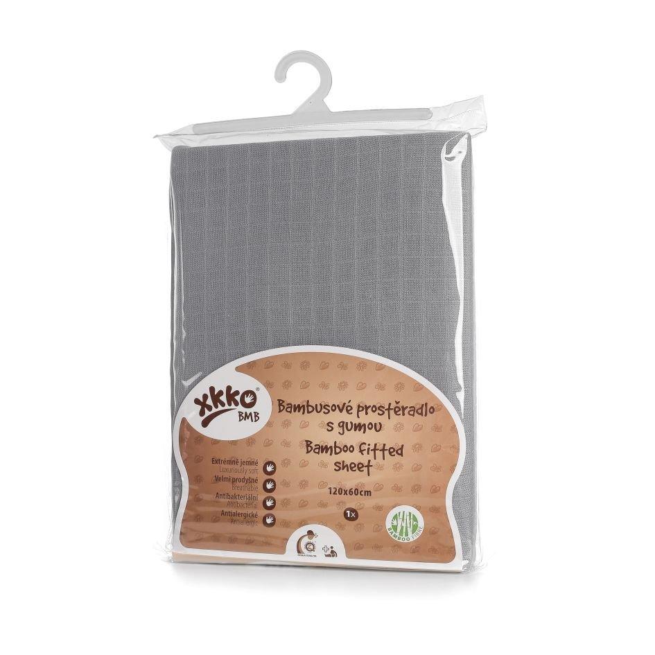 Bambusové prostěradlo s gumou XKKO BMB 120x60 - Baby Grey