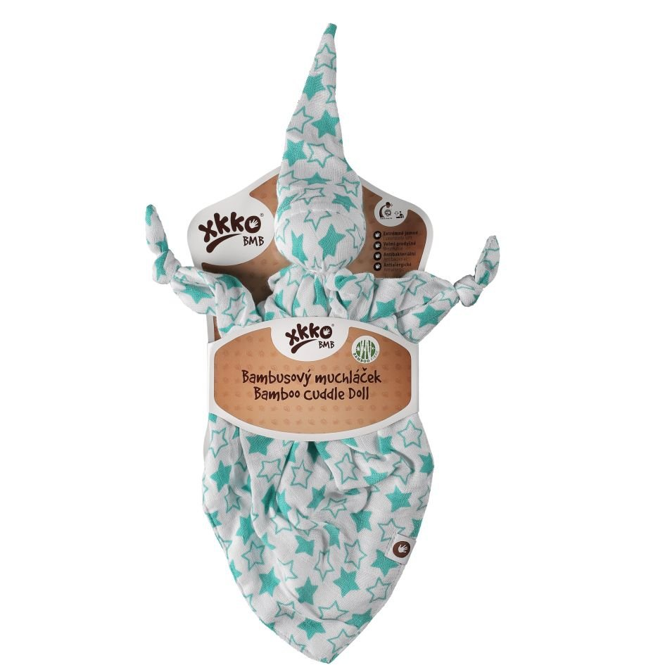 Bambusový muchláček XKKO BMB - Little Stars Turquoise