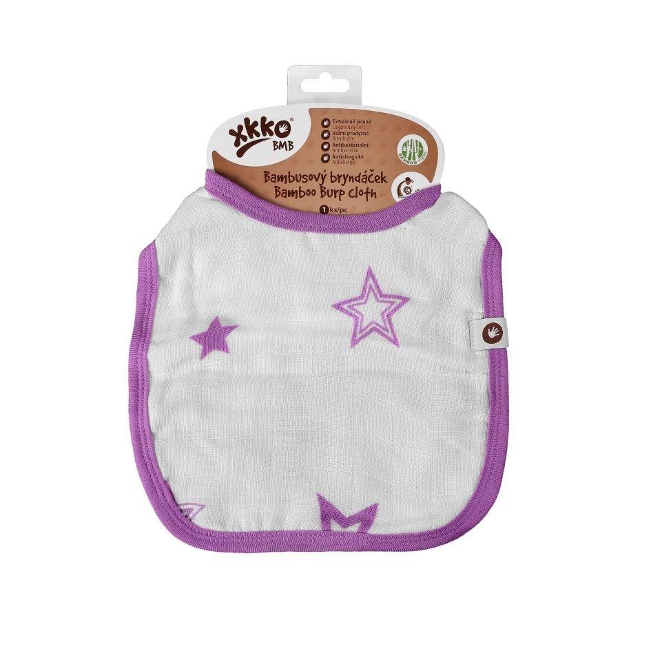 Bambusový bryndáček XKKO BMB - Lilac Stars