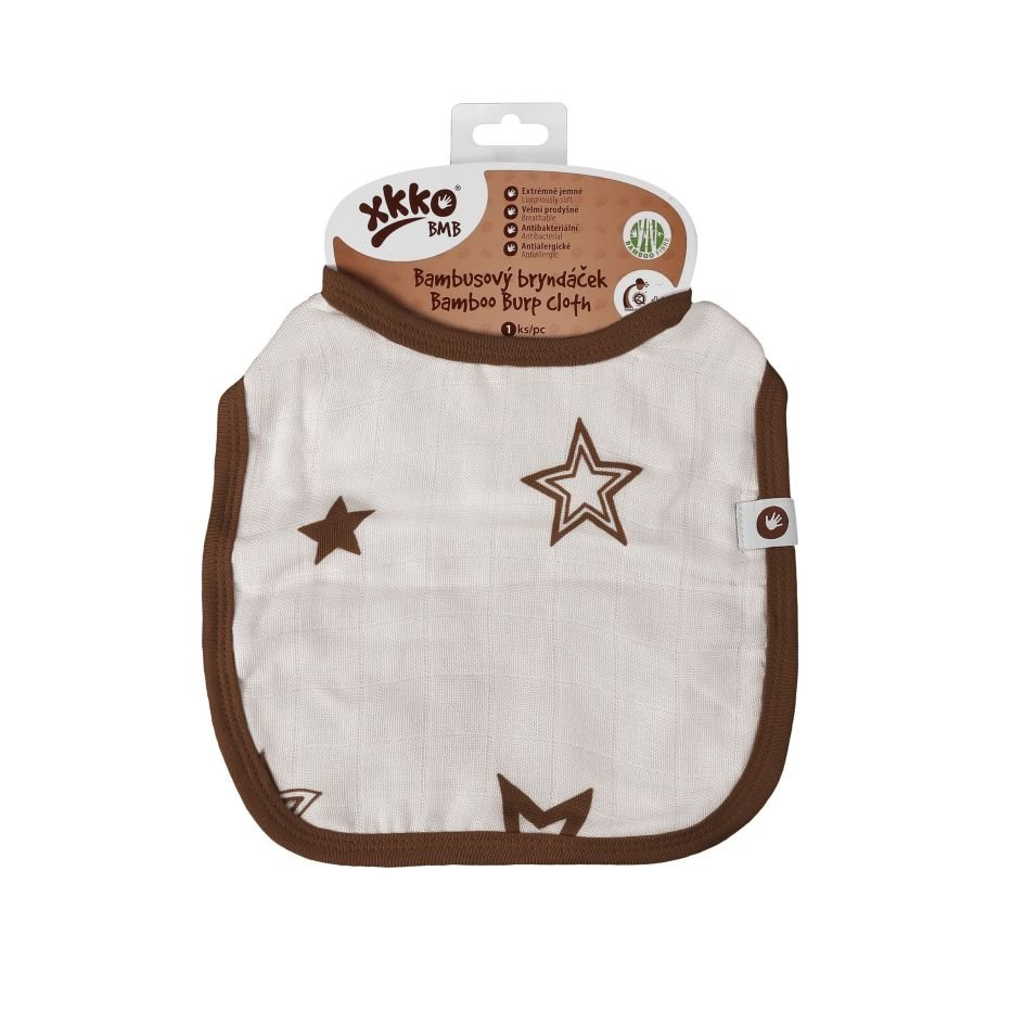 Bambusový bryndáček XKKO BMB - Natural Brown Stars