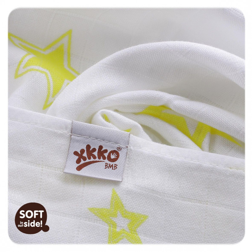 Bambusová osuška XKKO BMB 90x100cm - Lemon Stars  10x1ks VO bal.