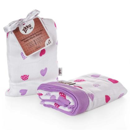 Bambusová mušelínová deka XKKO BMB Lilac Hearts 100x100cm