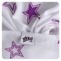 Bambusové pleny XKKO BMB Lilac Stars MIX 70x70cm - 3ks