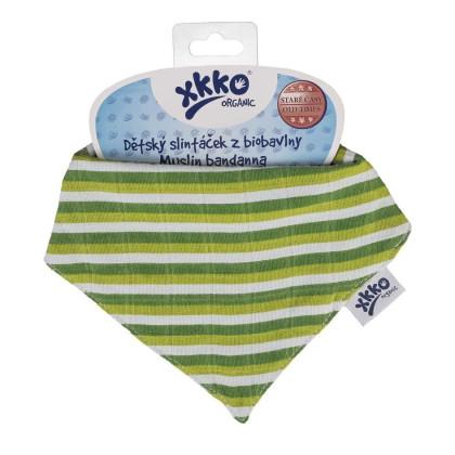 Dětský slintáček XKKO Organic Staré časy - Green Stripes