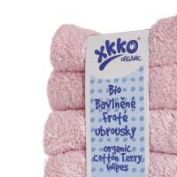 BIO bavlněné froté ubrousky XKKO Organic 21x21-  Baby Pink