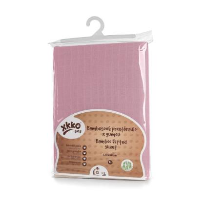 Bambusové prostěradlo s gumou XKKO BMB 120x60 - Baby Pink