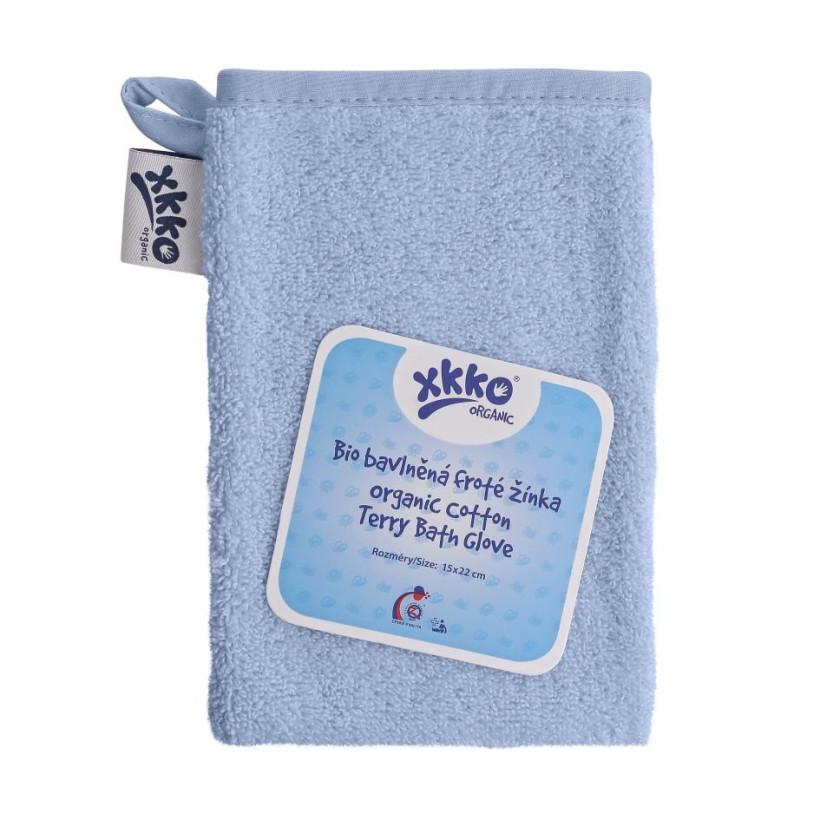 BIO bavlněná froté žínka XKKO Organic - Baby Blue 5x1ks (VO bal.)