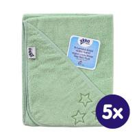 BIO bavlněná froté osuška s kapucí XKKO Organic 90x90 - Mint Stars 5x1ks (VO bal.)