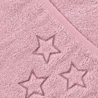 BIO bavlněná froté osuška s kapucí XKKO Organic 90x90 - Baby Pink Stars 5x1ks (VO bal.)