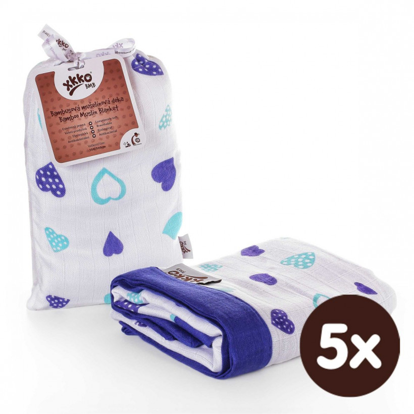 Bambusová mušelínová deka XKKO BMB 100x100cm - Ocean Blue Hearts 5x1ks VO bal.