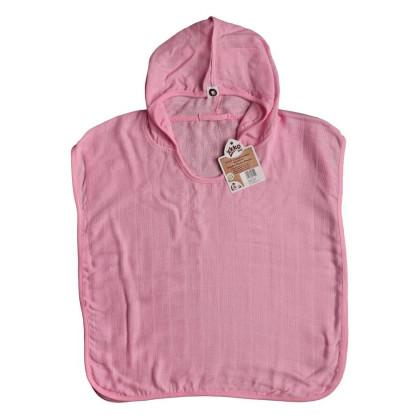 Bambusové mušelínové pončo XKKO BMB - Baby Pink