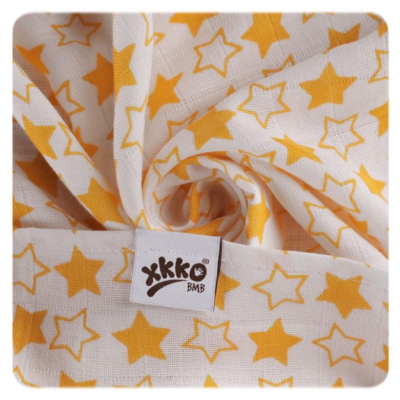 Bambusové pleny XKKO BMB 70x70 - Little Stars Orange MIX 3ks
