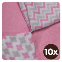 Bambusové ubrousky XKKO BMB 30x30 - Scandinavian Baby Pink MIX  10x9ks VO bal.
