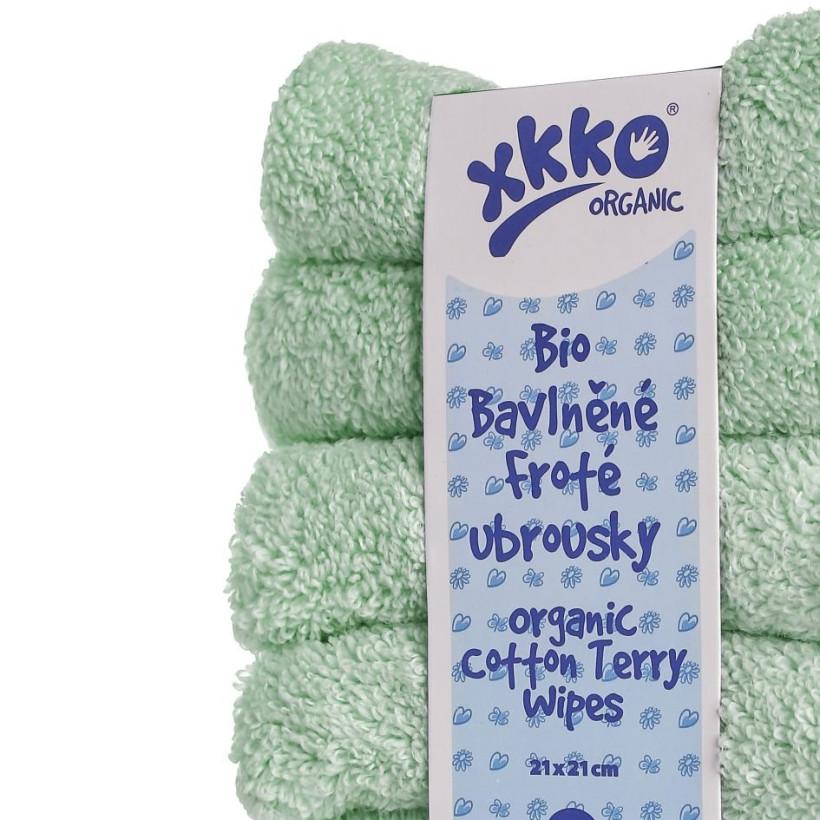 BIO bavlněné froté ubrousky XKKO Organic 21x21- Mint 5x6ks (VO bal.)