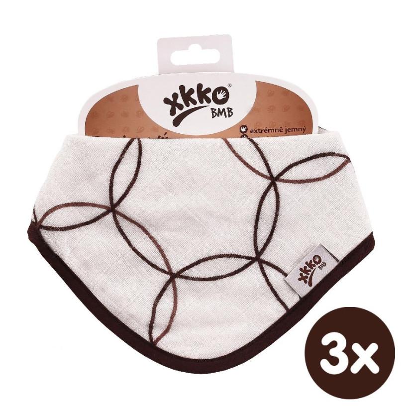 Bambusový slintáček XKKO BMB - Natural Brown Circles 3x1ks VO bal.