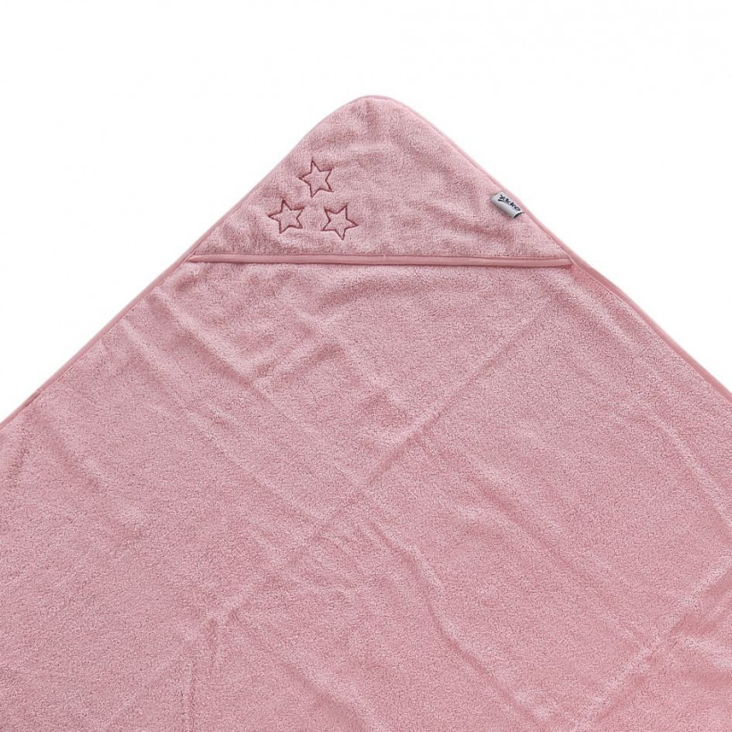 BIO bavlněná froté osuška s kapucí XKKO Organic 90x90 - Baby Pink Stars