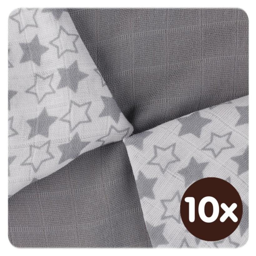 Bambusové ubrousky XKKO BMB 30x30 - Little Stars Silver MIX 10x9ks VO bal.