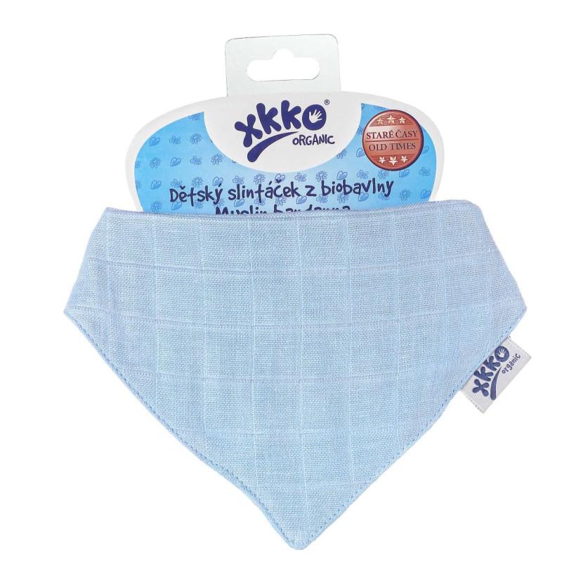 Dětský slintáček XKKO Organic Staré časy Sky Blue