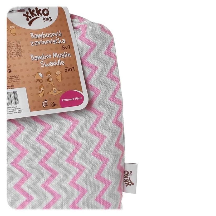 Bambusová zavinovačka XKKO BMB 120x120 - Scandinavian Baby Pink Chevron 5x1ks VO bal.