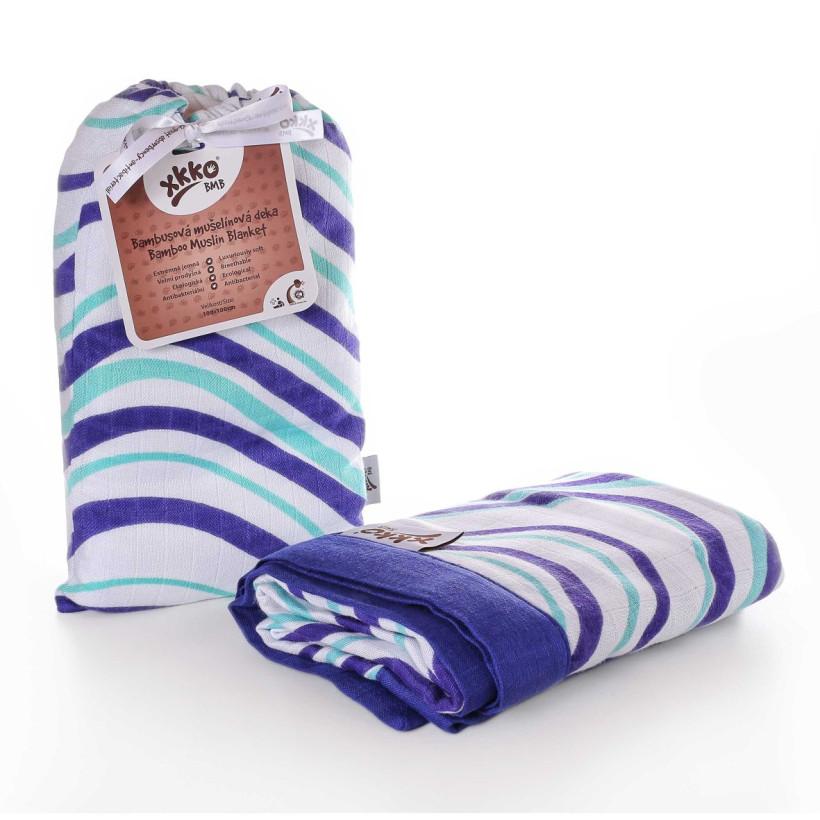 Bambusová mušelínová deka XKKO BMB Ocean Blue Waves 100x100cm