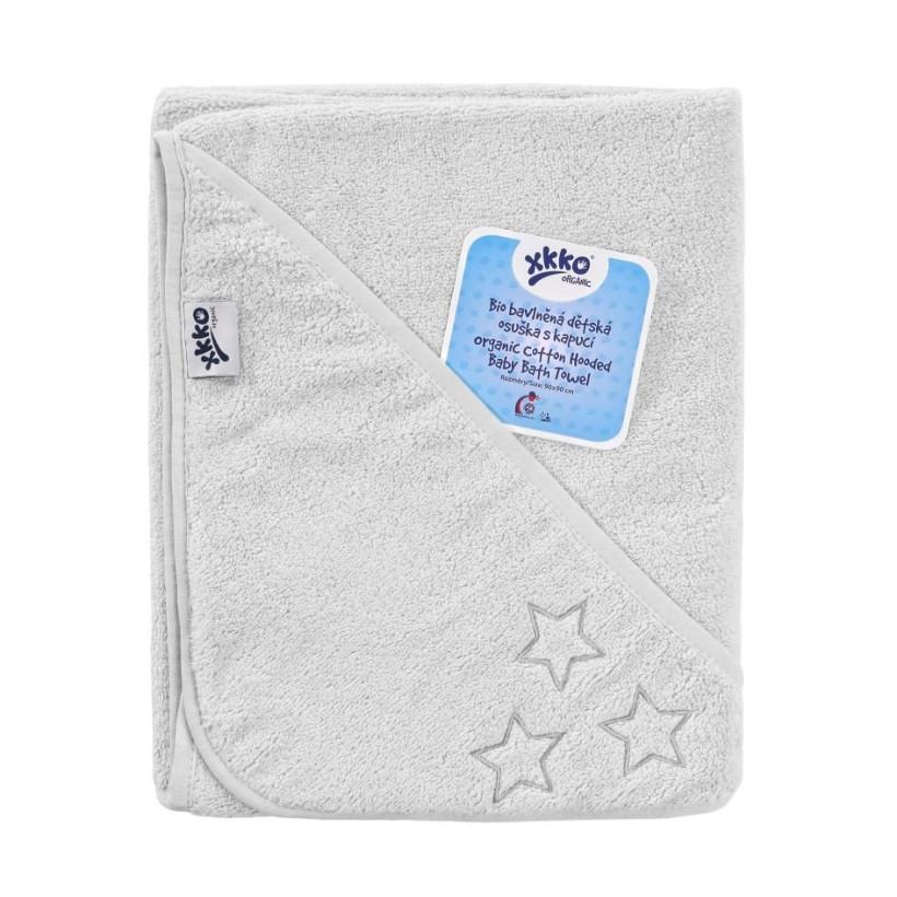 BIO bavlněná froté osuška s kapucí XKKO Organic 90x90 - White Stars 5x1ks (VO bal.)