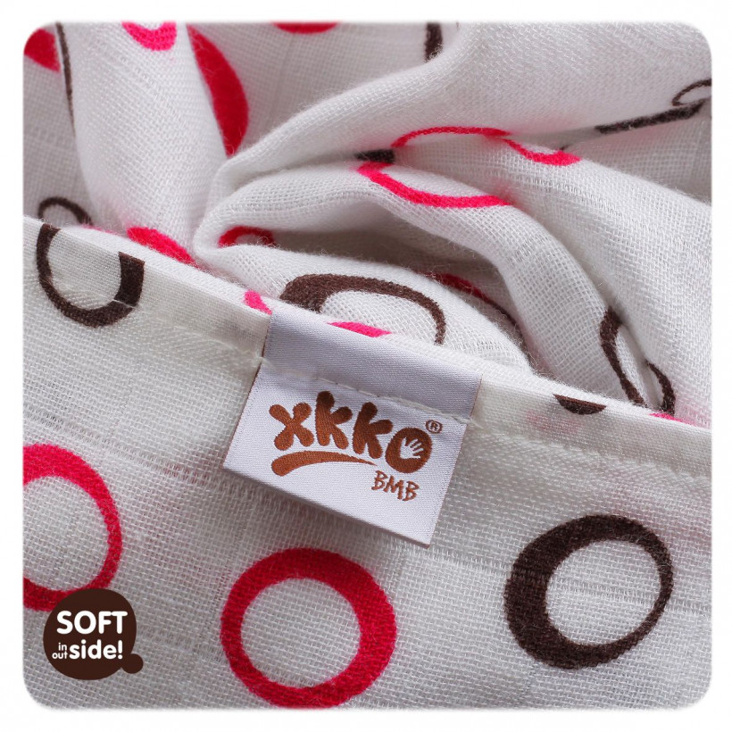 Bambusové pleny XKKO BMB Spirals&Bubbles Magenta MIX 70x70cm - 3ks