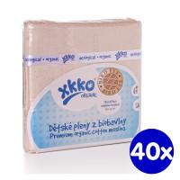 Dětské pleny z biobavlny XKKO Organic 70x70cm - Bird Eye Natural 40x5ks VO bal.