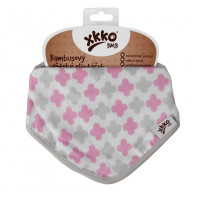 Bambusový slintáček XKKO BMB - Scandinavian Baby Pink Cross 3x1ks VO bal.