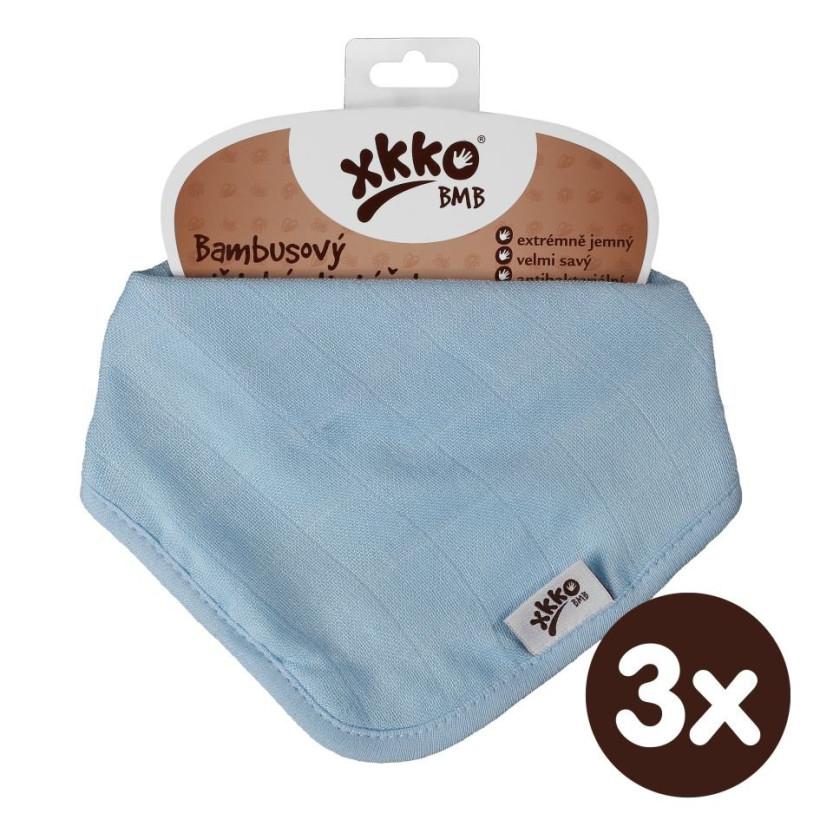 Bambusový slintáček XKKO BMB - Baby Blue 3x1ks VO bal.