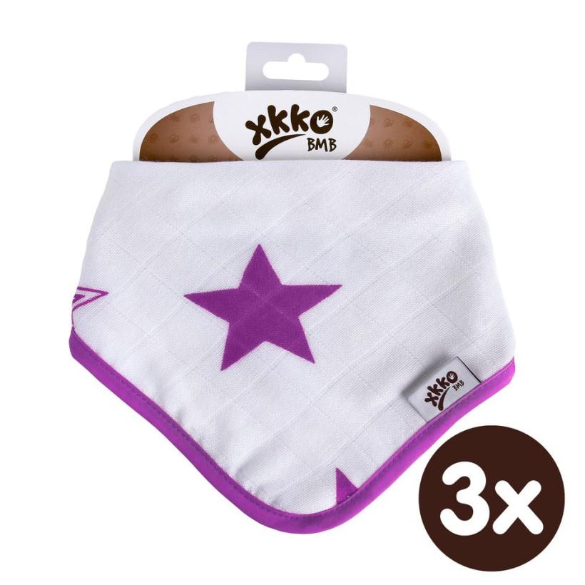 Bambusový slintáček XKKO BMB - Lilac Stars 3x1ks VO bal.