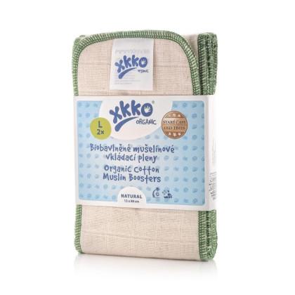 Vkládací pleny XKKO Organic Old Times - Natural Velikost L (2ks)