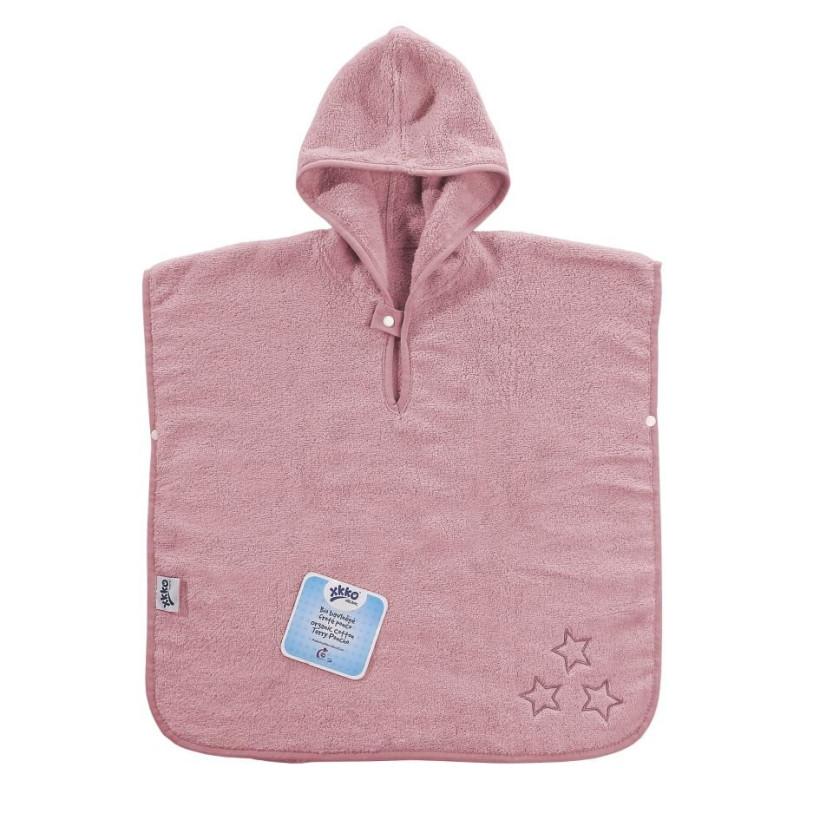 BIO bavlněné froté pončo XKKO Organic - Baby Pink Stars