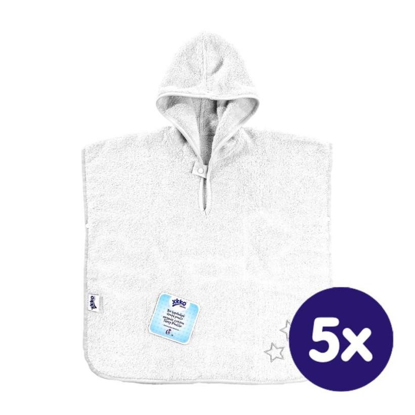 BIO bavlněné froté pončo XKKO Organic - White Stars 5x1ks (VO bal.)