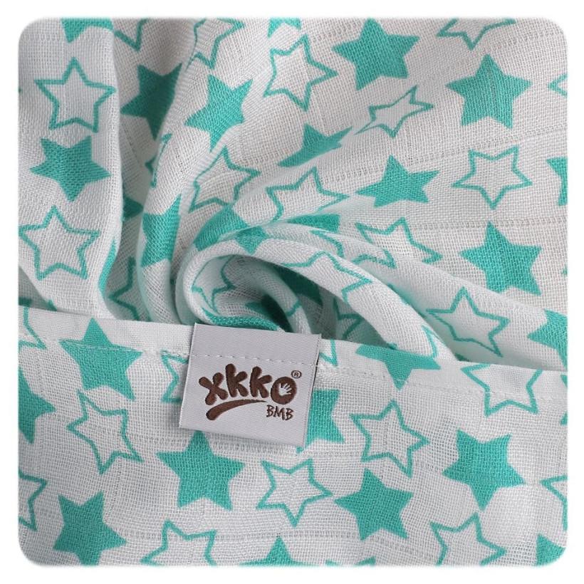 Bambusová osuška XKKO BMB 90x100 - Little Stars Turquoise 10x1ks VO bal.