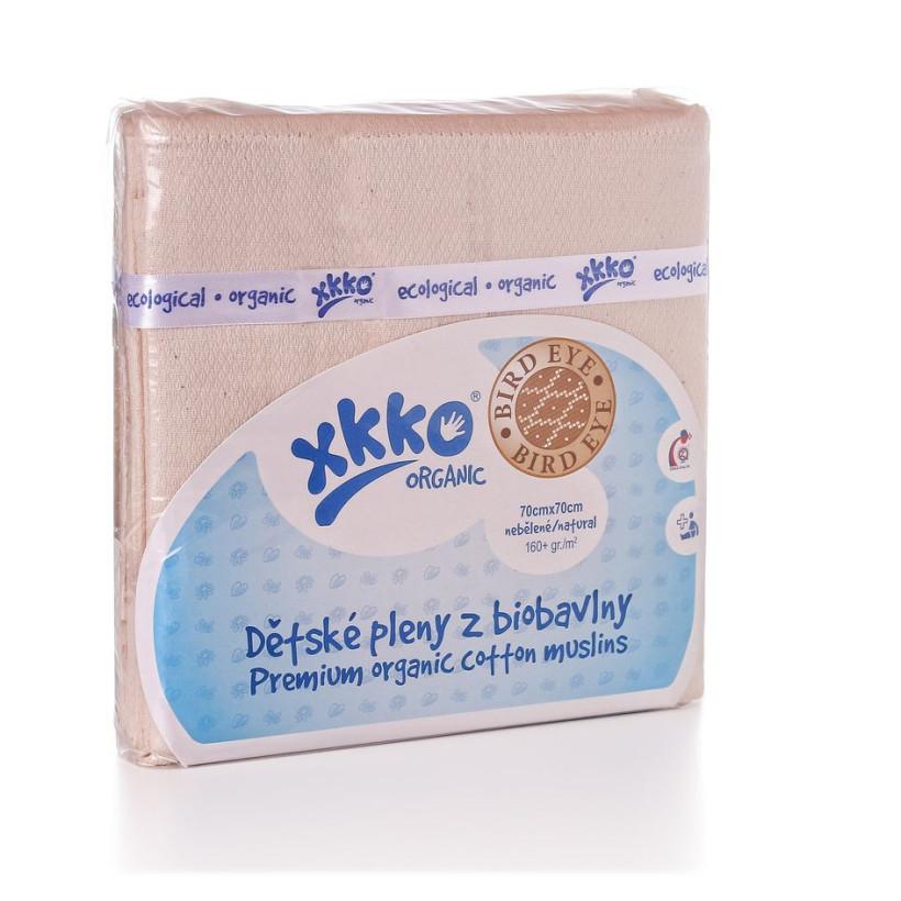 Dětské pleny z biobavlny XKKO Organic 70x70 - Bird Eye Natural