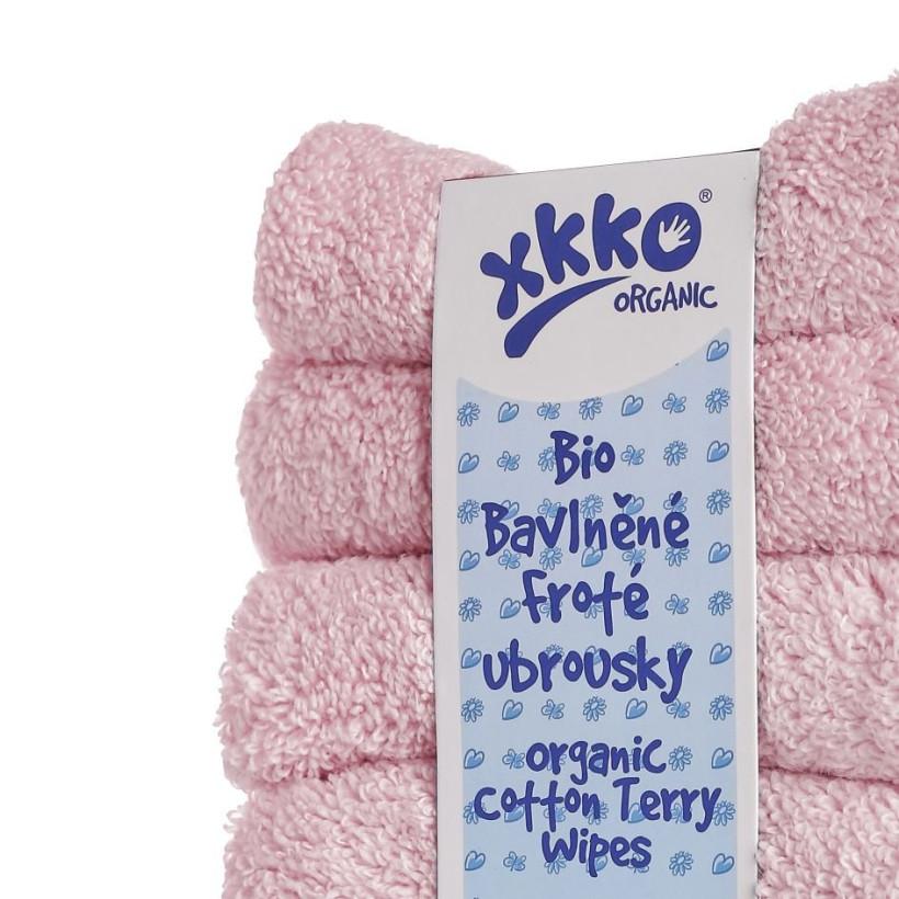 BIO bavlněné froté ubrousky XKKO Organic 21x21- Baby Pink 5x6ks (VO bal.)