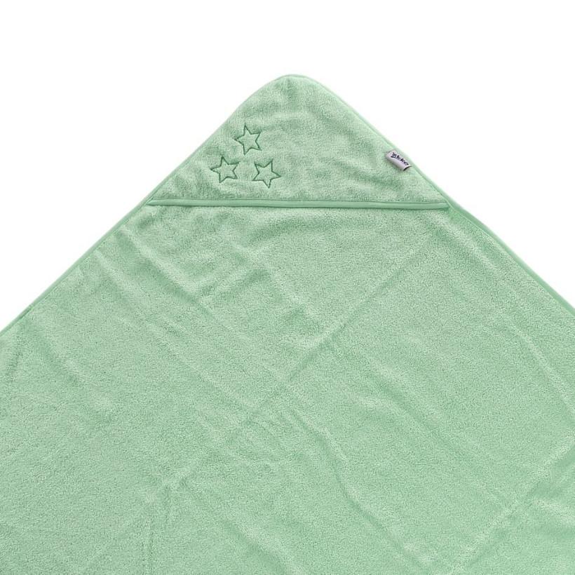 BIO bavlněná froté osuška s kapucí XKKO Organic 90x90 - Mint Stars