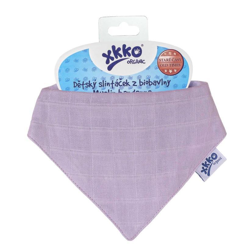 Dětský slintáček XKKO Organic Staré časy - Ultra Violet3x1ks VO bal.