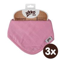 Bambusový slintáček XKKO BMB - Baby Pink 3x1ks VO bal.