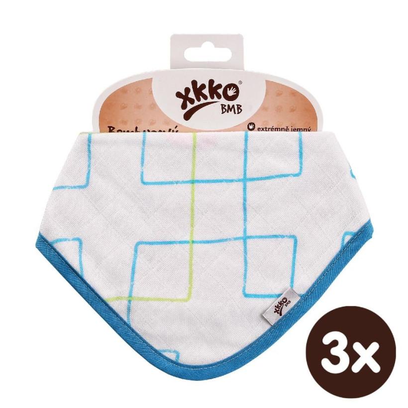 Bambusový slintáček XKKO BMB - Cyan Squares 3x1ks VO bal.