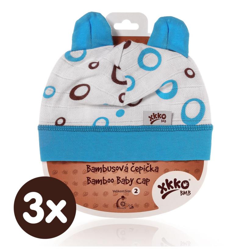 Bambusová čepička XKKO BMB - Cyan Bubbles 3x1ks VO bal.