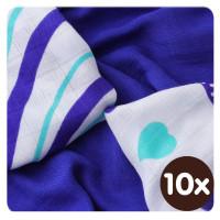 Bambusové ubrousky XKKO BMB 30x30 - Hearts&Waves Ocean Blue MIX  10x9ks VO bal.